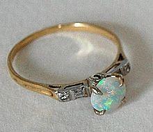 Vintage OPAL RING - Diamonds, 14K Gold (Fire Opal)