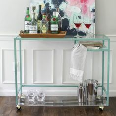 Ikea Laptop Table Turned Into Bar Cart