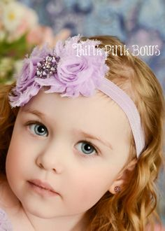 Baby Headband, Lavender Shabby Chic Headband, Girls Headbands,Flower Headband,baby headbands, baby bows.