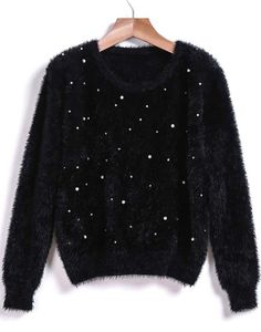 Black Round Neck Beading Mohair Sweater 25.67