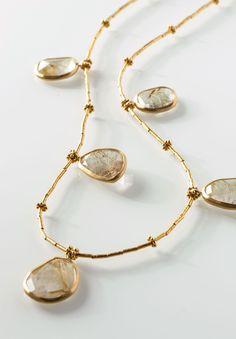 Greig Porter Five Pendant Rutilated Quartz Necklace Gemstone Jewelry, Gold Jewelry, Beaded Jewelry, Beaded Necklace, Chain Necklaces, Jewellery, Jewelry Trends, Jewelry Accessories, Jewelry Design