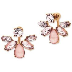 Marchesa Floral Ear Jacket Earrings (£44) ❤ liked on Polyvore featuring jewelry, earrings, accessories, rose gold, marchesa, rose stud earrings, flower jewellery, floral jewelry and flower jewelry