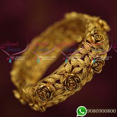 Broad Heavy Floral Leaf Design Antique Single Piece Bangles Online Width of each bangle is 22 mm. Gold Bangles For Women, Gold Bangles Design, Gold Jewellery Design, Wedding Jewellery Inspiration, Indian Jewelry Sets, Rings, Crafts, Bracelets, Silver