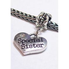 Dangle Heart Charm | Heart Charm w/ Crystal | Special Sister | Fits Most Charm Bracelets