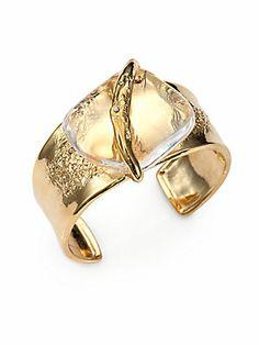 Alexis Bittar Lucite & Crystal Cuff Bracelet/Light Goldtone