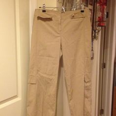 Get ready for spring Beige pants that's like cargo pockets on the bottom and top. LOFT Pants