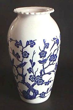 Fire King Glass Vase with Singing Blue Birds and Exotic Flowers |Pinned from PinTo for iPad|