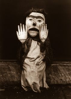 "1914  A Kwakiutl person dressed as a forest spirit, Nuhlimkilaka, (""bringer of confusion"").  Image: Edward S. Curtis/Library of Congress"