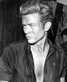 """1955, Marfa, Texas – James Dean as Jett Rink on the set of  the George Stevens' epic film, """"Giant."""" After James Dean was tragically killed in that car crash on Sept. 30th, 1955 (before production on """"Giant"""" was finished), actor Nick Adams, who had a bit part in """"Rebel Without a Cause"""", was tapped to finish Dean's voiceovers."""
