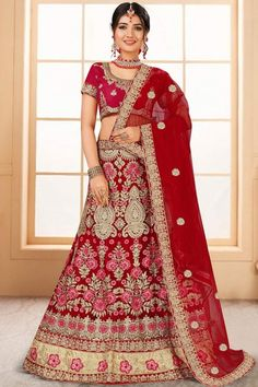 Red velvet semi stitch lehenga with banglori silk choli. This lehenga choli is embellished with zari, stone, sequins and dori .Product are available in 32 to 58 sizes. It is perfect for Bridal Wear #red #indian #bridal #lehanga #choli# Andaazfashion #Malaysia Lehenga Dupatta, Bridal Lehenga Choli, Cheap Wedding Dress, Wedding Wear, Indian Wedding Lehenga, Wedding Lehanga, Indian Sarees, Indian Skirt, Indian Ethnic Wear