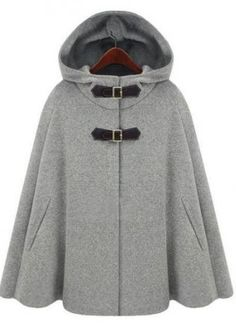 A beautiful woolen blend hooded cape. Single breasted, with PU leather buckles. Length is approximately 65cm - 69cm.