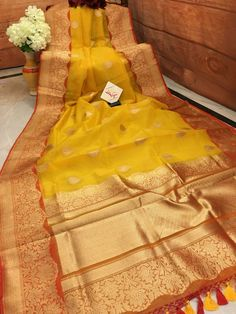 Turmeric Yellow and Light Brick Red Color Kora Organza Saree with Zari Work Silk Saree Banarasi, Kora Silk Sarees, Organza Saree, Saree Blouse Neck Designs, Blouse Designs, Indian Attire, Indian Wear, Saree Dress, Sari