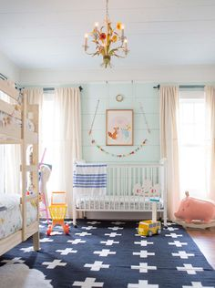 my favorite paint colors for kids' rooms and baby rooms: shared kids room Big Girl Rooms, Boy Room, Girl Nursery, Girls Bedroom, Bedrooms, Bedroom Decor, Pastel Nursery, Room Girls, Childrens Bedroom