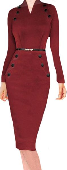 Oberora Women Sexy Fashion Elegant Bodycon Pencil Slim Fit Dress -- You can get more details by clicking on the image. (This is an affiliate link and I receive a commission for the sales)