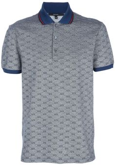 Gucci Monogrammed Polo Shirt in Gray for Men (grey) Gucci Polo Shirt, Gucci Shirts, Polo T Shirts, Gray Shirt Outfit, Gucci Monogram, Camisa Polo, Matches Fashion, Fashion Sites, Designer Clothes For Men