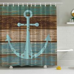 Anchor Print Waterproof Mildewproof Shower Curtain - COLORMIX 180*180CM