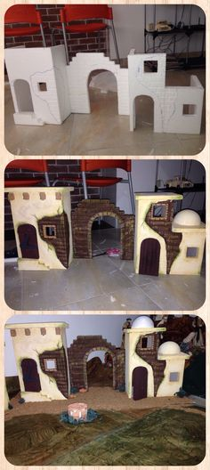Belenes - not a tutorial but the pictures show how was designed Mehr Christmas Villages, Christmas Nativity, Christmas Crafts, Christmas Decorations, Xmas, Christmas Ornaments, Fontanini Nativity, Christmas Program, Miniature Houses
