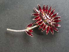Amazing Vintage Costume Brooch with Red Gemstones in a Flower Design by HipTrends2015 on Etsy