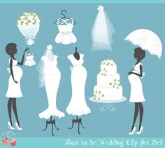 We love the artwork that Preciosa Babaran designs.  It makes us want to design beautiful stationery.    Mom to be Blue/ Boy Wedding Baby Shower Clip by 1EverythingNice, $5.00