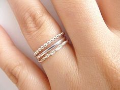 ►►DESCRIPTION  This listing is for a SET OF 3 sterling silver stacking rings. High polish solid sterling silver. Very comfortable to wear.  (1) Beaded ring (1) Half round ring (1) Braided ring   Quantity: THREE sterling silver rings Size: Choose from size 4, 4.5, 5, 5.5, 6, 6.5, 7, 7.5, 8, 8.5, 9, 9.5, 10 Dimensions: 1.5mm wide  *** If you would like mix sizes, for example 1 size 5, 1 size 7 and 1 size 7.5, you are welcome to do so, just specify once you oder in the buyers note box…