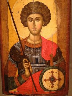 Canvas Print (other products available) - BYZANTINE ART. Icon with Saint George made by the workshop of Constantinople. Dated at XIV century. - Image supplied by Mary Evans Prints Online - Canvas Print made in Australia Byzantine Icons, Byzantine Art, Fine Art Prints, Canvas Prints, Framed Prints, Greece Painting, Roman Soldiers, Orthodox Icons, Star Wars