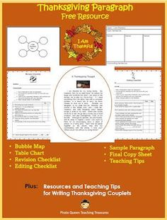 Use this FREEBIE to review paragraph writing. Students will write a paragraph identifying people and things for which they are thankful. Graphic organizers are provided to help your students organize their thoughts. In addition there is a poetry activity based on the picture book, THANKFUL, by Eileen Spinelli.