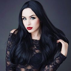 Jet Black Long Straight Synthetic Lace Front Wig - All Synthetic Wigs Synthetic Lace Front Wigs, Synthetic Wigs, Goth Makeup, Hair Makeup, Eva Hair, Goth Model, Goth Aesthetic, Gothic Girls, Gothic Beauty