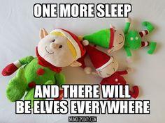 Elf on a shelf. One more sleep until they return!