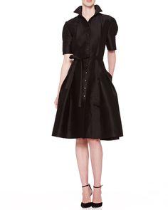 Flared Doupioni Shirtdress, Black