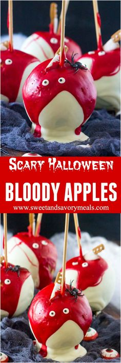 Bloody Halloween Desserts like these Chocolate Dipped Apples, are a fun and easy way to take your Halloween treats to a new scary, delicious and fun level! #halloween #apple