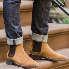 Casual Men's Boots Suede High-top Shoes Brogue Chelsea Boots, Leather Chukka Boots, Leather Chelsea Boots, Ankle Boots Men, Men's Boots, Mens Short Boots, Slip On Boots, Top Shoes, Shoes Men