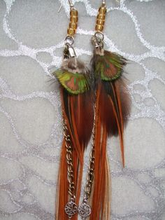 Feather Earrings - Extra Long, Auburn, Red, Black, Green, Gold, Brown, Peacock, Rooster, feathers,Copper, Brass, Chains, Trinkets, Charms on Etsy, $129.99