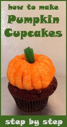 How to make Pumpkin cupcakes step by step. This looks like an awesomely appropriate ratio of frosting to cake. :-)