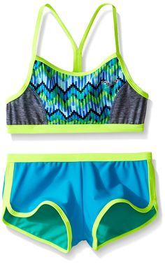 3d3439cdbab Speedo Girls Digi Zig Zag Heather Two Piece Boyshort Bikini Set, Blue, Size  7