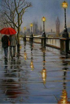 Raouf Salim Janibekov - a modern Azerbaijani artist, born in Baku. Watercolor Landscape Paintings, Landscape Art, Landscape Photography, Watercolor Paintings, Rain Painting, City Painting, Rain Art, Umbrella Art, Abstract Painters