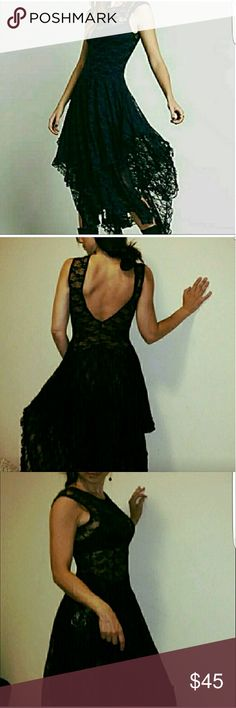 Lace dress Black sexy maxi dress with open back. boutique  Dresses Midi