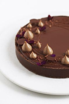 Chocolate tart with hazelnut - Maja Vase French Patisserie, Dessert Decoration, Sweets Cake, Sweet Tarts, Cake Decorating Tips, Vegan Cake, Chocolate Desserts, Chocolate Hazelnut, Chocolate Cake