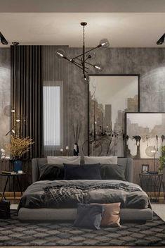 Muitas texturas para provocar o olhar e os sentidos nesse quarto de casal Industrial Bedroom Design, Modern Bedroom Design, Contemporary Bedroom, Modern House Design, Industrial Interiors, Modern Bedrooms, Modern Industrial, Bedroom Designs, Industrial Furniture