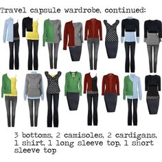 """Travel capsule wardrobe"" The count is actually off...but its a good outline.  IF I could ever love what I pack, this would be great! *sigh"