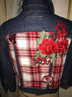 Items similar to Flannel & Flowers Up-Cycled Denim Jacket by ReconstruKteD, New Jacket, Patched and Appliqued, Juniors Large on Etsy Denim Ideas, Altered Couture, Flare Leg Jeans, Clothes Crafts, Redo Clothes, Paisley, Junior, Jacket Buttons, Diy Clothing