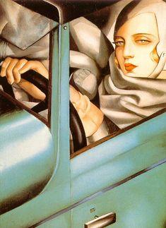 Self-Portrait (Tamara in the Green Bugatti) by Tamara de Lempicka