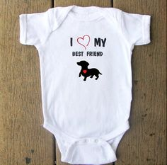 Dachshund Puppy Dog baby bodysuit.  White Long Sleeve available