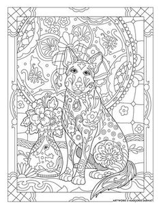 talavera dog ~ Pampered Pets Adult Coloring Book by Marjorie Sarnat