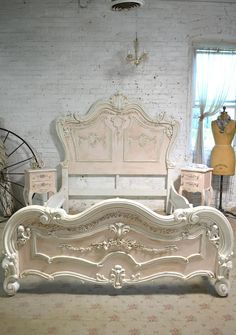 Wow what an amazing complete bed for your romantic boudoir. This is a brand new piece that can be painted any color you like. If you are working with specific colors on your bedding or walls just convo us and we can paint any of our pieces to coordinate with your room. FEATURES: