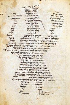 Carmina figurata from a Festival prayer book (mahzor) for Rosh ha-Shanah, France, 14th c.