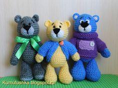 Amigurumi Little Bears-Free Pattern Crochet Teddy, Crochet Bear, Crochet Toys, Crotchet Animals, Knitted Animals, Amigurumi Doll, Amigurumi Patterns, Crochet Patterns, Crochet Gratis