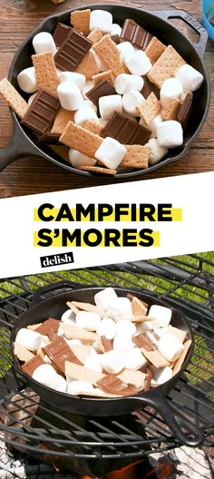 Campfire S'mores are the BEST way to serve s'mores to a crowd. Get the recipe at Delish.com. #smores #campfire #dessert #delish #recipe #easyrecipe #chocolate #marshmallow #skillet #grahamcracker