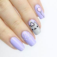 nail art designs cute | cat | purple | pastel | polka dots | simple