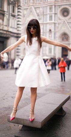 OUTFIT DEL DÍA: Vintage white dress outfit - Look con vestido blan...