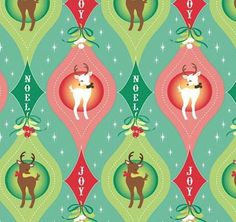 """I want this """"Have a Sheri Berry Holiday"""" fabric SO badly that I think I look at it online 5 times a day! I love the retro prints and pastel colors for Christmas. Christmas Fabric, Retro Christmas, Christmas Stockings, Solstice Moon, Origami, China Rose, Christmas Cards, Christmas Ornaments, Family Room Decorating"""